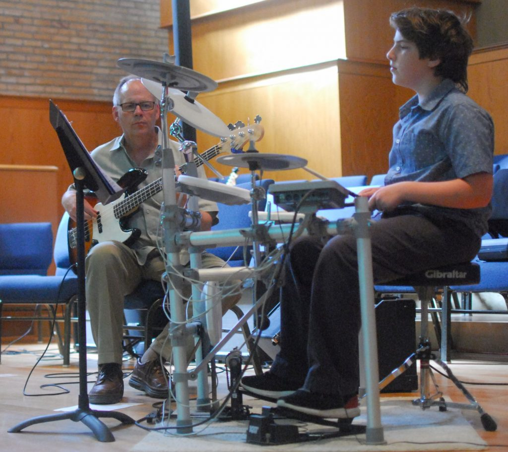 Drum Student With Teacher on Bass
